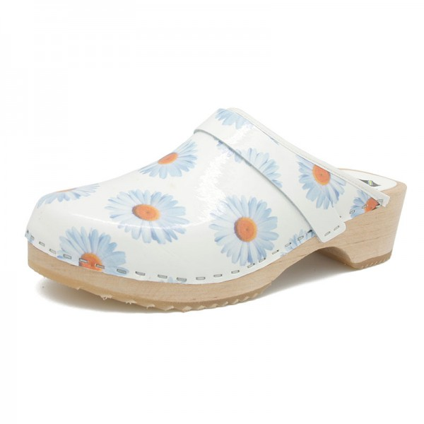 gunnels zuecos clogs leather piel margaritas marguerite estampado print madera wood blue azul blanco white