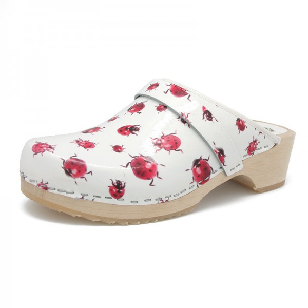 gunnels zuecos clogs piel leather estampado mariquitas ladybirds print wood madera