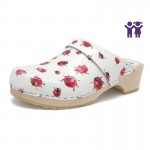 gunnels zuecos mariquitas clogs leather piel ladybirds print estampado madera wood