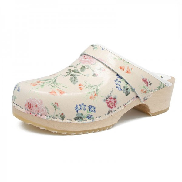 gunnels zuecos clogs leather piel estampado flores print flowers madera wood