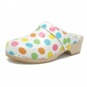 gunnels zuecos clogs leather piel lunares colores estampado dotts colours print wood madera