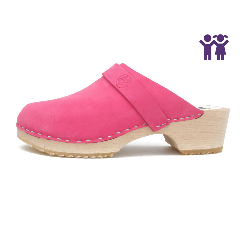 gunnels zuecos kids clogs nobuk leather piel fucsia madera wood