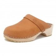 gunnels zuecos nobuk leather cognac clogs