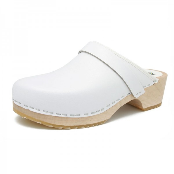 gunnels zuecos piel leather clogs blanco white madera wood