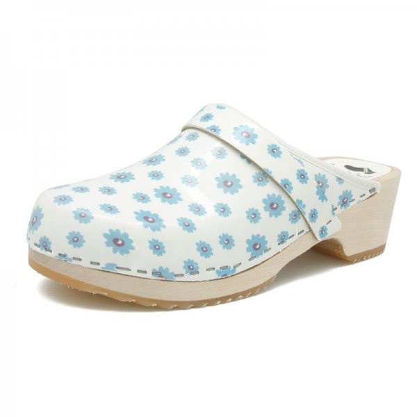 gunnels zuecos clogs leather piel estampado print flores primavera azul flowers spring blue madera wood