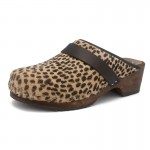 gunnels zuecos clogs gunnel fur pelo estampado print leopardo marrón negro leopard black brown madera wood