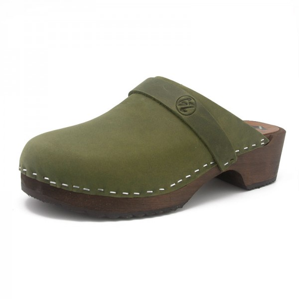 gunnels zuecos clogs wood nobuk leather bambú