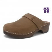 gunnels zueclos clogs nobuk leather marrón brown madera wood