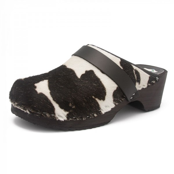 gunnels zuecos gunnel clogs fur pelo vaca cow negro blanco black white madera wood