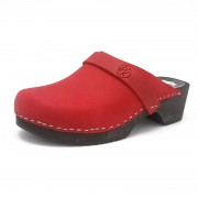 gunnels zuecos nobuk clogs leather red rojo madera wood
