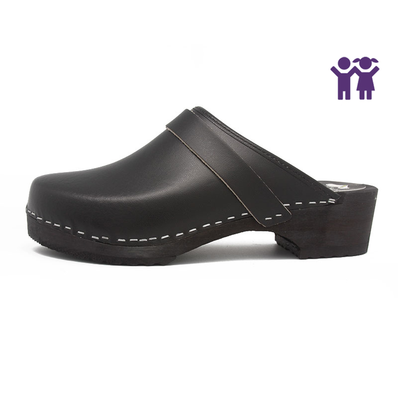 gunnels zuecos black negro clogs leather piel madera wood