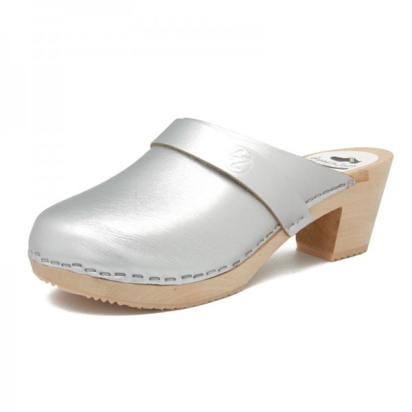 gunnels zuecos gunnel clogs leather piel silver plata madera wood