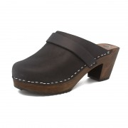 gunnels zuecos gunnel clogs nobuk leather piel negro black madera wood