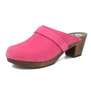 gunnels zuecos gunnel clogs nobuk leather fucsia fuchsia madera wood