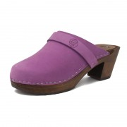 gunnels zuecos gunnel clogs nobuk leather piel lila purple wood madera