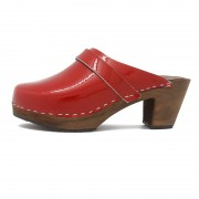 gunnels zuecos clogs gunnel charol rojo patent red madera piel wood leather
