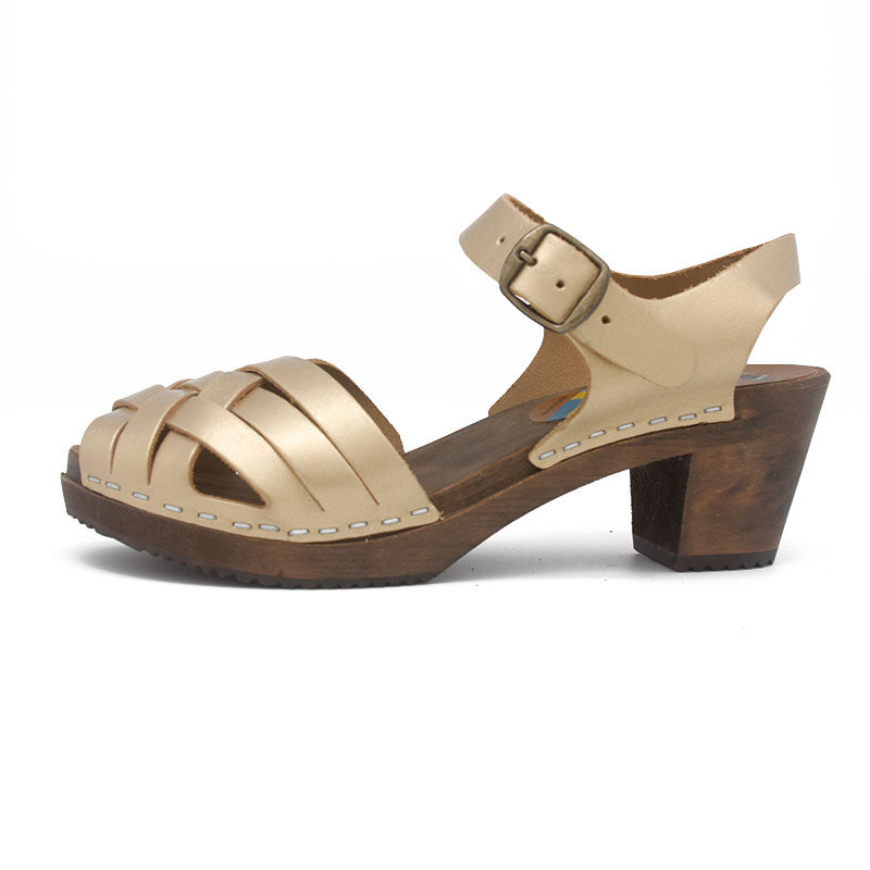 gunnels zuecos sandalias oro sandals gold clogs leather piel madera wood