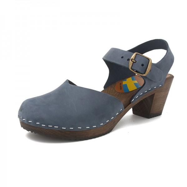 gunnels zuecos clogs nobuk sandalias sandals azul marino navy madera wood