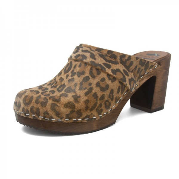 gunnels zuecos leopardo estampado leopard print clogs leather piel